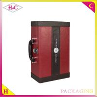China Handmade luxury pu leather wine bottle box with handle on sale