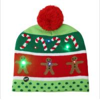 Girls Promotional Products Caps /  Knitted Beanie Christmas Hats LED Lighted Flashing Manufactures