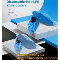 Safety Products Equipment Indoor Disposable medical plastic shoe covers waterproof PE CPE material,PE material blue shoe Manufactures