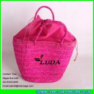 LUDA rose red leisure straw handbag cornhusk shoulder bag latest women
