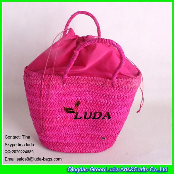Quality LUDA rose red leisure straw handbag cornhusk shoulder bag latest women's bag for sale