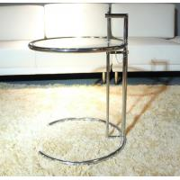 China Eileen Gray Glass End Tables Stainless Steel Frame Simple Adjustable Height on sale