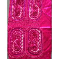 Dribbling Sequin Embroidered Fabric , Red Embroidered Taffeta Fabric Manufactures