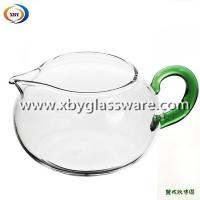 China Borosilicate glass milk mug with colored handle on sale