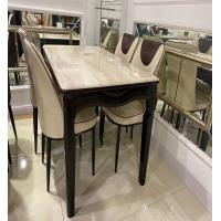 China Scratch Resistant Artificial Marble Top Dining Table Set With Gold Plated Iron Pipe Keel on sale