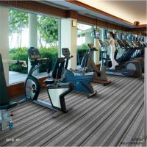 Indoor PVC Carpet Flooring Double Stripe Level Loop Pile Plain Style Manufactures