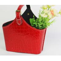 Red Crocodile Skin Imitation PU Leather Basket Packaging Basket Fruit Gift Storage Case Storage Basketry Portable Basket Manufactures