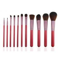 Essential 11pcs Professional Makeup Brush Set Wooden Handle Goat Hair Leather Case Manufactures