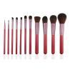 Essential 11pcs Professional Makeup Brush Set Wooden Handle Goat Hair Leather Case Manufactures