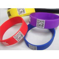 Buy cheap printed readable QR code customized logo silicone rubber wristbands CE from wholesalers