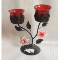 2013 New Antique Double Metal Flower Candle Holder With Tealight Cup Manufactures