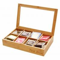 Quality Multifunction Bamboo Storage Box , Wooden Tea Bag Organizer 8 Compartments for sale