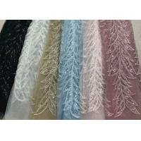 Blue Shiny Embroidered Leaf Lace Fabric With Beads And Sequins 120CM Width Manufactures