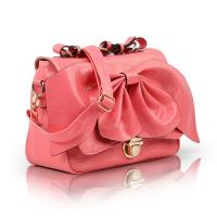 China Beautiful Pink Pleated Small PU Tote Bag For Women With Bow , Adjustable Shoulder Strap on sale