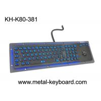 China Rugged Vandal resistant Backlit Metal keyboard with track ball , USB interface and 80 keys on sale