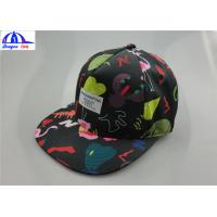 Polyester Custom Printed Unisex 5 Panel Camp Cap With Woven Label on the Front Manufactures