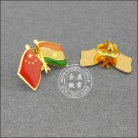 China flag badge Epoxy gilded copper etching  China-Indian national flag badge GQ05 on sale