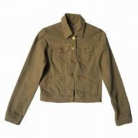 China Women's Brown Stretch Twill Jacket, Made of Cotton/Polyester/Spandex, Various Colors Available on sale