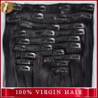 China Hot Selling Direct Factory Wholesale 120G 140G 160G 180G Customized Double Drawn Thick Ends Remy Clip In Hair Extension on sale
