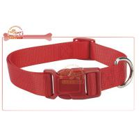 Red Brightly Nylon Pet Collar for dog in black with custom buckle Manufactures