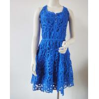 China Ladies Fashion Clothing Royal blue embroidered cotton dress  for women with racer back design on sale