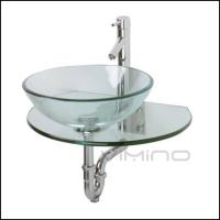 Cheap Glass Sink Bathroom Vanity Wall Hung Glass Wash Basin From China for sale