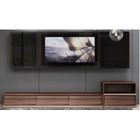 Quality 2017 New Walnut Wood Furniture Design Living room Combined TV Wall Units by Tall Cabinets and Floor stand & Hang Racks for sale