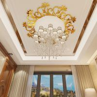 Waterproof adhesive decorative acrylic wall mirror stickersDecorative wall decals with chandelier/ ceiling lamp Manufactures