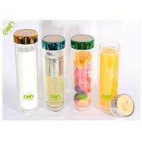 Eco - Friendly Double Walled Glass Water Bottle With Tea Filter  450ml Manufactures