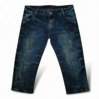 China Women'Jeans with Damage Wash Effect, Embroidery and Lace in Back Waist on sale