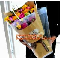 China Customized PP plastic transparent flower carry bags with hanging,Eco-friendly Recyclable flower bag transparent pp bag f on sale