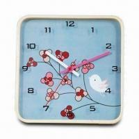12-inch Square Wooden Wall Clock in Flower Design, Powered by One Piece AA Battery Manufactures