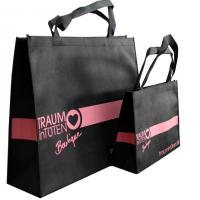 120gms Black Non Woven Carry Bag Silk Screen Printing Pink Logo for lady garment accesories Manufactures