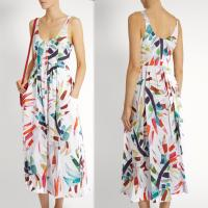 China 2018 New Style Women White-Print Button-Down Simple Cheap Linen Midi Dress on sale
