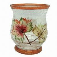 Votive Holder with Hand Painting Leaves Design, Made of Crackle Glass Manufactures