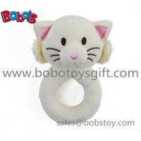 5.5 Cute Plush Stuffed White Cat Baby Rattle Toy Manufactures