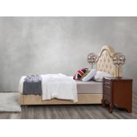 Quality Leather / Fabric Upholstered Headboard Bed for Hotel Bedroom interior Furniture with Wooden nighstand in Cheap price for sale