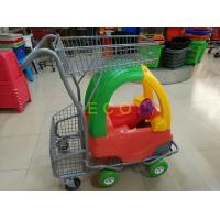 Quality Hand Push Plastic Kids Shopping Carts With Castors , Movable Store Wire Mesh for sale