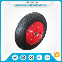Carbon Steel Pneumatic Rubber Wheels Ball Bearing , Pneumatic Wagon Wheels OEM Manufactures