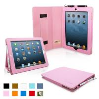 iPad 4 & iPad 3 Case - PU Leather Case Cover Pink Manufactures
