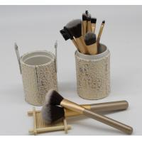 China Women'S Flat Natural Hair Makeup Brushes Set With Cylinder , Gold Color on sale