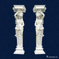China Natural Marble Hand Carved Stone Columns / Graden Decor White Marble Pillar on sale