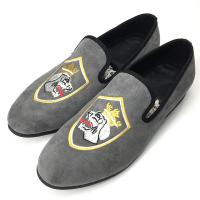 Custom Mens Velvet Loafers Full Grain Leather Insole Material Hand Painted Pattern Manufactures