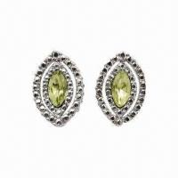 Alloy Stud Earrings with Rhodium Plating and Crystal Manufactures