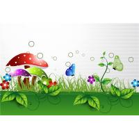 China Bamboo Fiber Interior Faux Stone Wall Panels Green Grass Butterfly Eco Friendly on sale