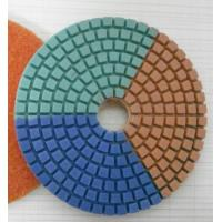 Tripple Color Wet Diamond Polishing Pads For Concrete / Marble 3-5 Inches Manufactures