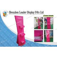 Pink Cardboard Display Stands Offset Printing With Matte Lamination With 3 Pockets Manufactures