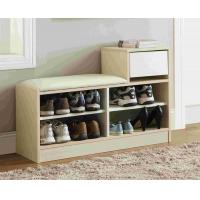 White Modern Narrow Home Shoe Cabinet Cushion Bench With PB Board Frame Manufactures