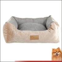 China dog beds washable free shipping Stripes short plush pet bed china factory on sale