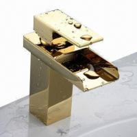 Golden-colored waterfall faucet, cold and hot water, 0.5 to 1.5 bars working pressure  Manufactures